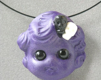 On Sale Gloomy Girl Doll Head Necklace Marked Down
