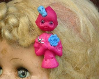 Pink Big Eyed Kewpie With Her Bird Brooch