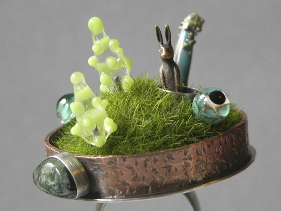 On Hold For alise Down The Rabbit Hole Diorama Ring Do Not Buy