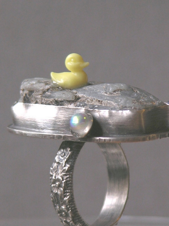 On Hold For Nina Rubber Duckys Dream Bath Ring Made With Rough Kyanite Do Not Buy