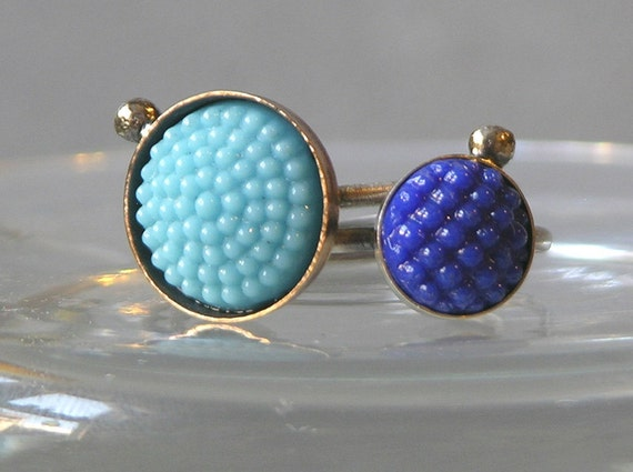 Shades Of Blue Vintage Glass Stacking Rings