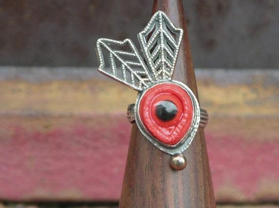 On Sale Red Eye Bird Eye Ring Marked Down