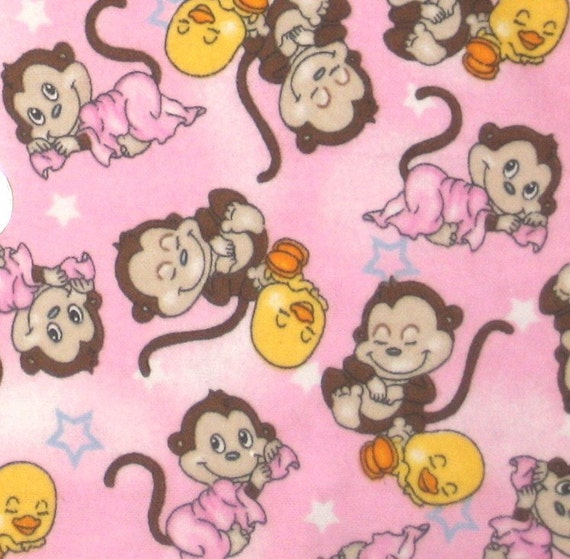 Pink bedtime monkey flannel fabric baby girl by for Nursery monkey fabric