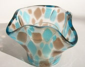 Floral Formed Fused Glass Candle Votive (Turquoise and Bronze)
