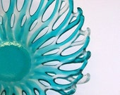 Fused Glass Bowl Turquoise and Clear Iridized (Neptune)