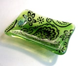 Soap Dish in Fused Glass (Greens with Paisley Design(