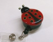 Retractable Badge Holder Fused Glass Lady Bug  (Red)