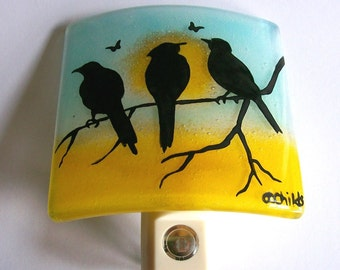 Fused Glass Night Light (Three Birds)