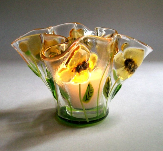 Fused Glass Candle Holder/Votive (Poppies in Yellow)