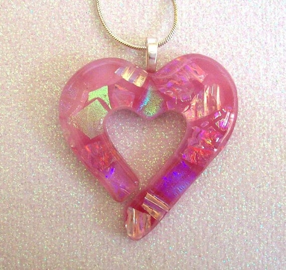 Fused Glass Dichroic Heart Pendant (Blushing Pink Cutout)
