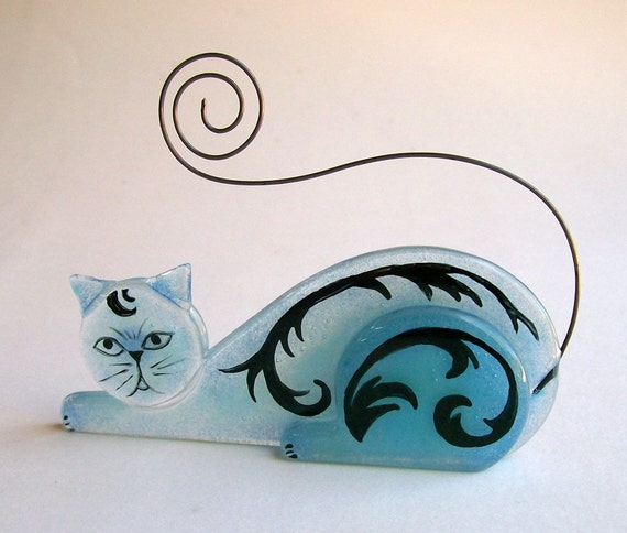 RESERVE listing for L Hare Photo Holder/Business Card Holder  Fused Glass (Scrap Daddy Cat in Blue)