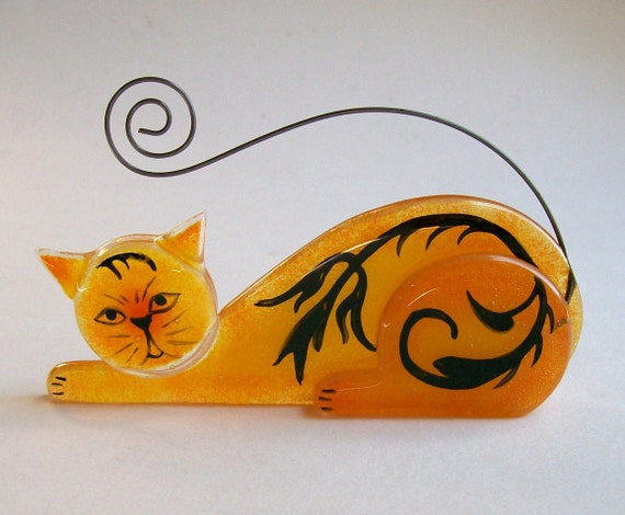 Business Card Holder/Photo Holder  Fused Glass (Scrap Daddy Cat in Orange)