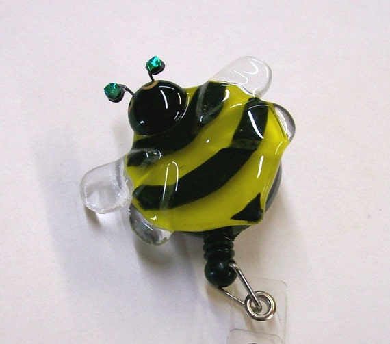 Retractable Badge Holder Fused Glass Bumble Bee