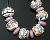 Beautiful Round Handmade Organic Southwest Lampwork Bead Set...Including Spacers...Free Shipping