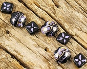 Half Price Blowout...Now 9 Bucks...With Free Shipping...Tribal Style 7 Lampwork Bead Set In Purple And Black