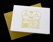 Reel to reel, letterpress card