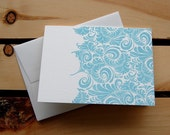 Beautiful blue pattern, single letterpressed card