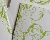 Green swirls, letterpress card set
