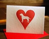 Heart: Labrador Retriever, single letterpress card