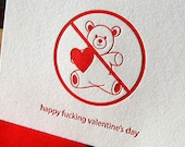 Happy F-ing Valentine's Day, single letterpress card