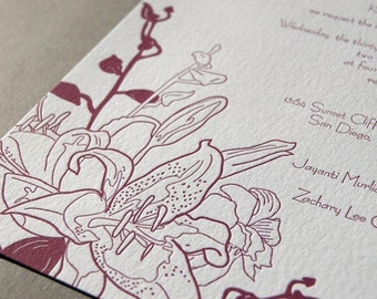 Lily and Orchid, Letterpress wedding invitation