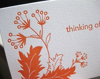 thinking of you, letterpress card