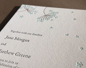 Queen Anne's Lace, letterpress wedding invitation