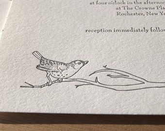Perch, letterpress wedding invitation