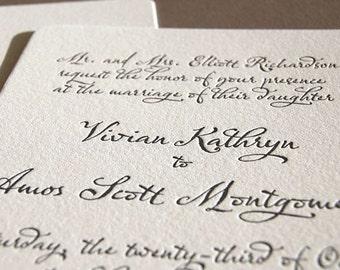 Classic script, letterpress wedding invitation
