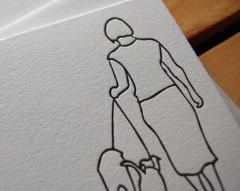 Letterpress dog walking card, single