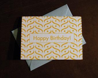 Birthday Card yellow mid-century pattern, letterpress card