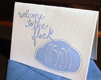 Welcome to the flock, new baby, letterpress card, blue
