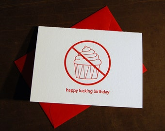 Happy f-ing Birthday (cupcake), single letterpress card