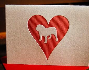 Heart: Bulldog, letterpress card