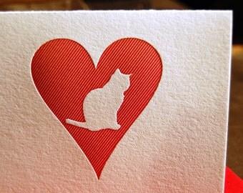 Heart: Cat, single letterpress card
