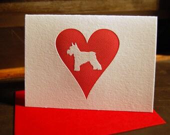 Heart: Schnauzer, letterpress card