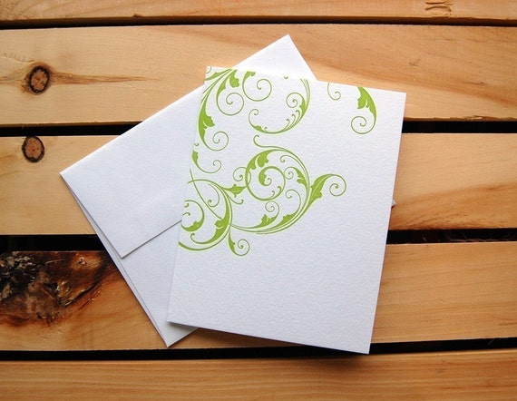 Green swirl, single letterpress card