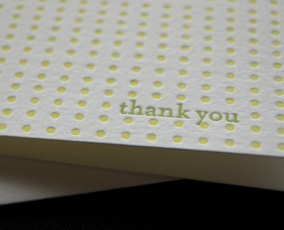 Letterpress greeting cards, thank you in green and yellow, SET