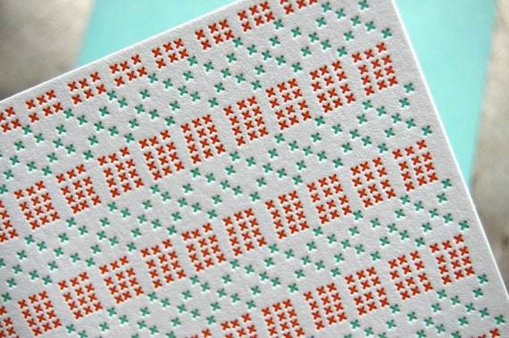 Letterpress Cross Stitch Card