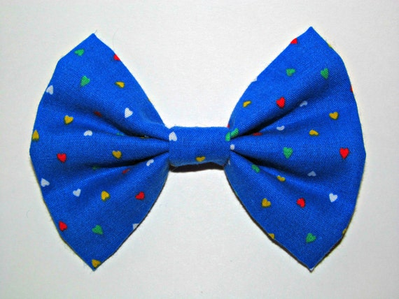 Blue Hair Bow with Rainbow Hearts