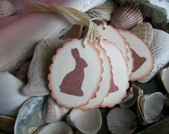 Tags-Chocolate Bunny-Natural and Brown-Shabby-Cottage Style-Oval