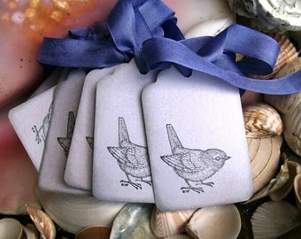 10 Tags-Bird-Nature-Shabby-Cottage Style-Periwinkle