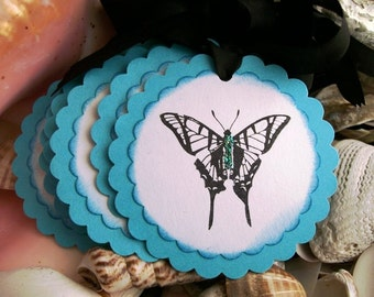 Tags-Round Butterfly- Cottage Style-Aqua and Black