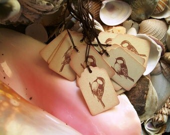 Tags-Cottage Romance-Birds-Miniature-Tan and Brown-Shabby
