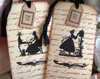 Tags-Postage-Script-French Inspired-Silhouette