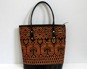RESERVED...1940s leather EGYPTIAN BIRD embroidered handbag