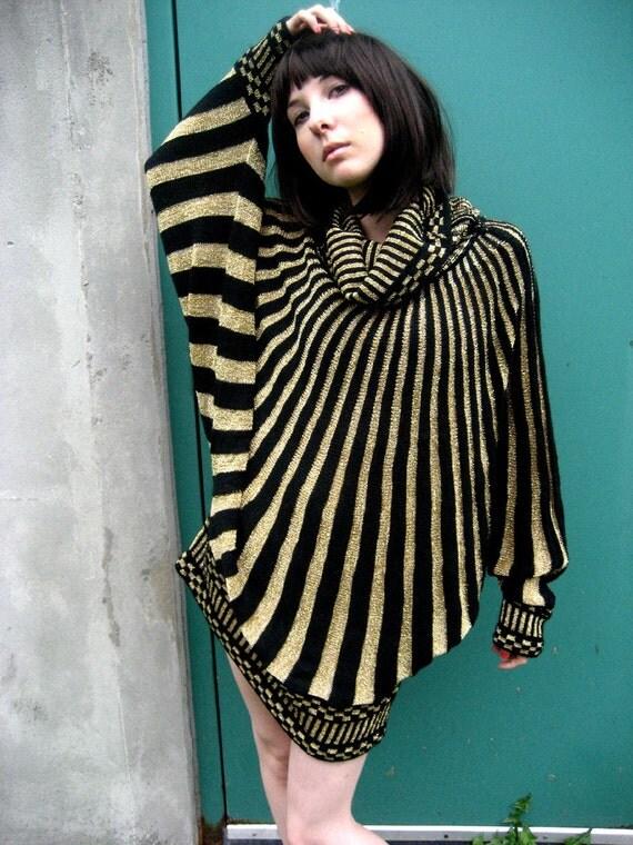 RESERVED 80s Rare Black Stripe Metallic Glam Batwing Mini Dress