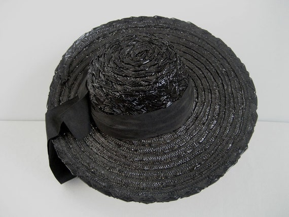1930s noir straw picture hat with bow