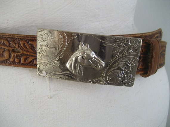 1950s horses in my dreams tooled leather belt by Rockmount
