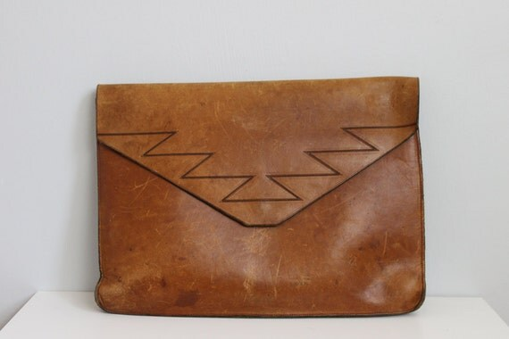 Vintage rustic southwestern large leather organizer laptop bag